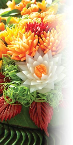 Vegetables carved into an amazing floral display